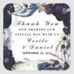 Chic Purple Floral Winter Wedding Thank You Favor Square Sticker