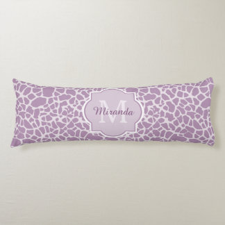 Chic Purple Giraffe Print With Monogram and Name Body Pillow