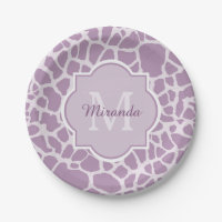 Chic Purple Giraffe Print With Monogram and Name Paper Plate