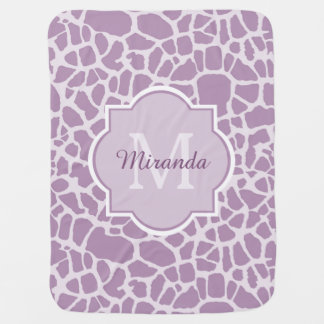 Chic Purple Giraffe Print With Monogram and Name Receiving Blanket