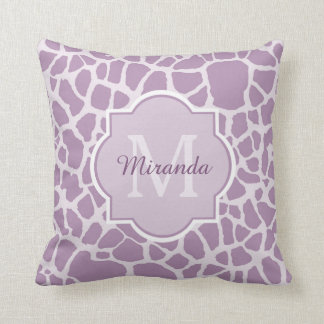 Chic Purple Giraffe Print With Monogram and Name Throw Pillow