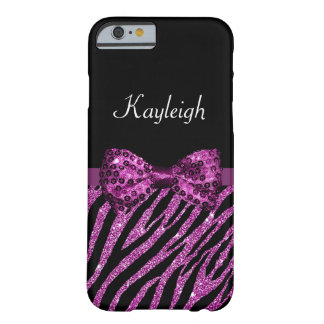 Chic Purple Glitter Zebra Print Luxe Bow With Name Barely There iPhone 6 Case