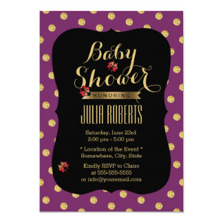 Chic Purple & Gold Dots Ladybugs Baby Shower Card