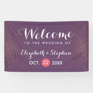 Chic Purple & Gold Glitter Sparkle Wedding Banner