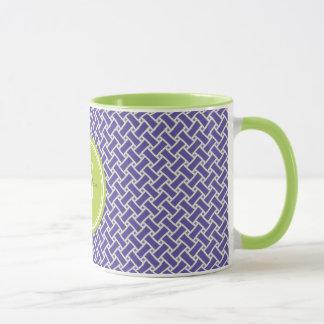 Chic purple herringbone geometric pattern monogram mug