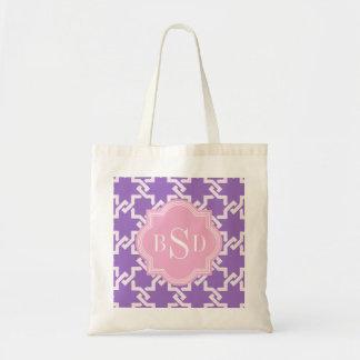 Chic purple interlocking pattern monogram bags