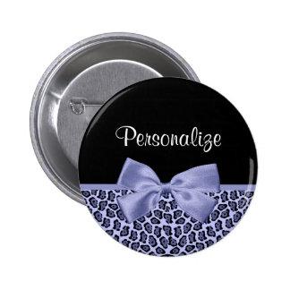 Chic Purple Jaguar Leopard Print Lavender Bow 2 Inch Round Button