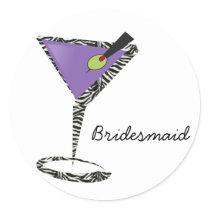 chic purple martini classic round sticker