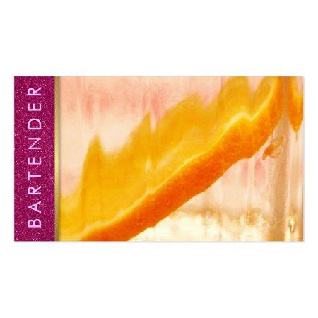 Orange Slice in Drink Girly Purple Glitter Bartender Business Cards