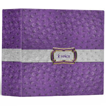 Chic Purple Ostrich Leather Look All Purpose 3 Ring Binder