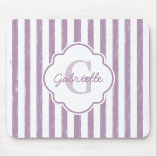 Chic Purple Painted Stripes Monogram and Name Mouse Pad