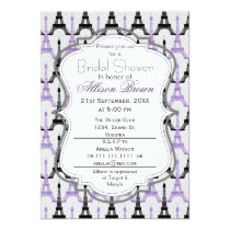 Chic Purple Paris Eiffel Tower Bridal shower Card