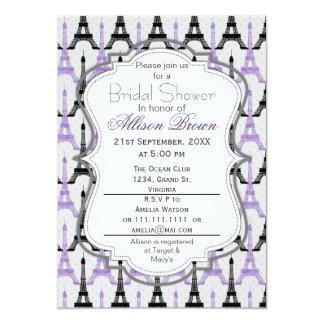 Chic Purple Paris Eiffel Tower Bridal shower Card