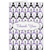 Chic Purple Paris Eiffel Tower Party Thank you Card
