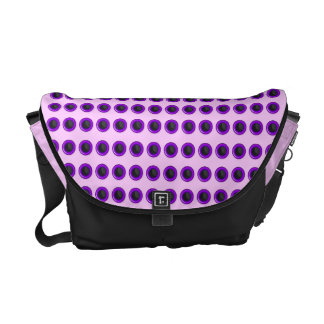 "Chic purple pink ""polka dot"" pattern messenger bags"