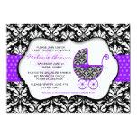 "Chic Purple Polka Dot Damask Baby Shower Invite 5"" X 7"" Invitation Card"