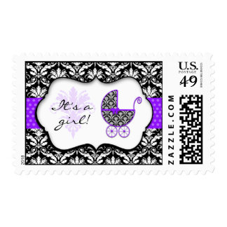 Chic Purple Polka Dot Damask Baby Shower Stamps