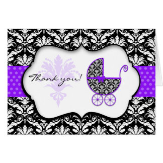 Chic Purple Polka Dot Damask Baby Shower Thank You Card