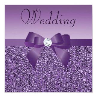 Chic Purple Printed Sequins Bow & Diamond Wedding Card