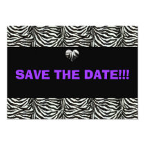 chic purple save the date card