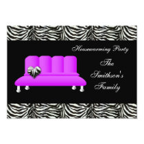 chic purple sofa , party Invitation
