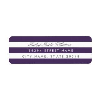 Chic Purple Striped Address Labels