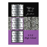 "chic purple triple photo Graduation 5"" X 7"" Invitation Card"