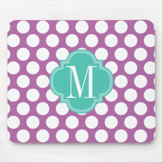 Chic Purple & Turquoise Big Dots Monogrammed Mouse Pad