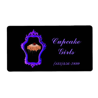 Chic  Purple Vintage Cupcake Shipping Labels