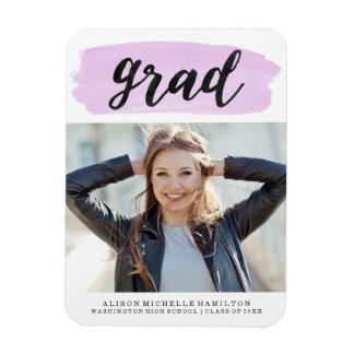Chic Purple Watercolor Graduation Photo Magnet