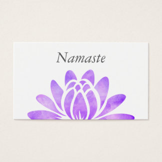Chic Purple Watercolor Lotus Namaste Yoga Business Card