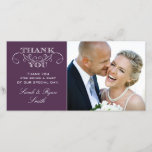 """Chic Purple Wedding Photo Thank You Cards<br><div class=""""desc"""">Use these elegant photo cards to send out to your guests to say thanks for being a part of your wedding celebration. Completely customize with your own message,  names and picture. If you wish to change the graphic,  please contact me through my store or by email:  theantiquechandelier@gmail.com AntiqueChandelier&#169; http://www.antiquechandelier.ca</div>"""