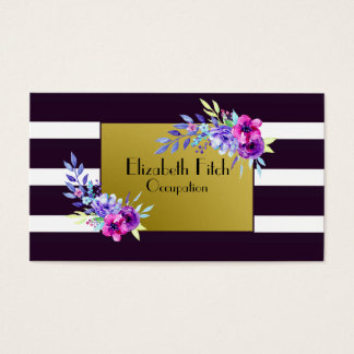 Chic Purple, White and Gold Watercolor Floral Business Card