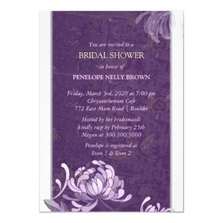 "Chic Purple & White Asian Mum Modern Bridal Shower 5"" X 7"" Invitation Card"