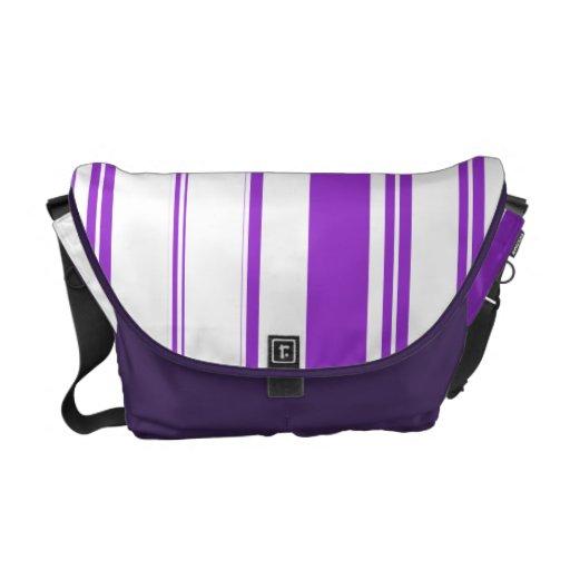 Chic purple white stripe pattern messenger bag