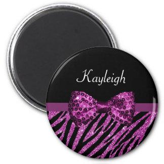 Chic Purple Zebra Print FAUX Glitz Bow With Name 2 Inch Round Magnet