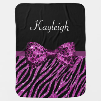 Chic Purple Zebra Print FAUX Glitz Bow With Name Baby Blanket