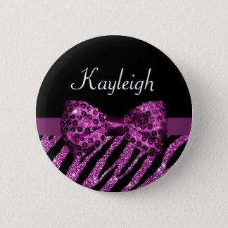 Chic Purple Zebra Print FAUX Glitz Bow With Name Button
