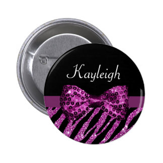 Chic Purple Zebra Print FAUX Glitz Bow With Name Button