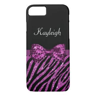Chic Purple Zebra Print FAUX Glitz Bow With Name iPhone 7 Case
