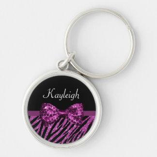 Chic Purple Zebra Print FAUX Glitz Bow With Name Keychain