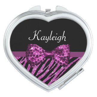 Chic Purple Zebra Print FAUX Glitz Bow With Name Mirror For Makeup