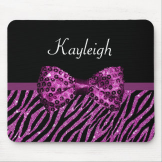 Chic Purple Zebra Print FAUX Glitz Bow With Name Mouse Pad