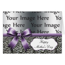 chic purple zebra stripes mother's day photo card