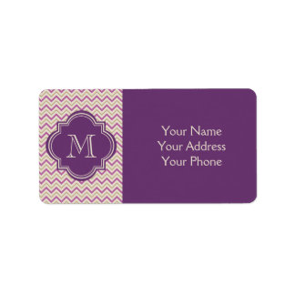 Chic Quatrefoil Chevron Orchid Purple Tan Beige Label