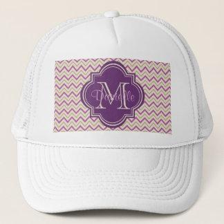 Chic Quatrefoil Chevron Orchid Purple Tan Beige Trucker Hat