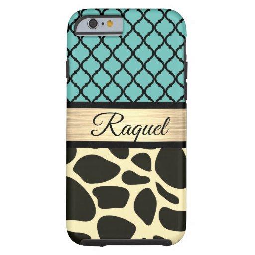 Chic Quatrefoil Giraffe Print     Tough iPhone 6 Case