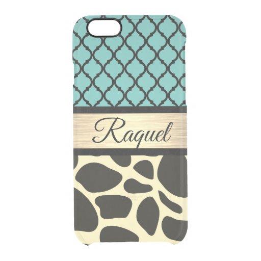 Chic Quatrefoil Giraffe Print    Clear iPhone 6/6S Case