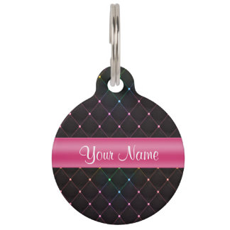 Chic Quilted Pink Black Colorful Personalized Pet Tag