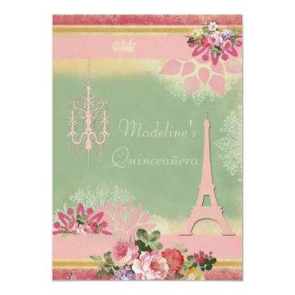 Chic Quinceañera Eiffel Tower and Chandelier Card